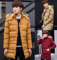 Winter Mens Long Down Jackets Puffer Warm Fur Hooded Parka Coats Quilted Padded
