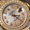 Women's 2 Tone Rolex 26mm Datejust White MOP Mother of Pearl Dial with Diamond