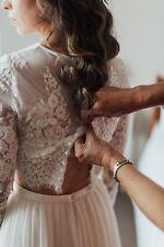 Vintage Long Sleeve Wedding Jacket Top Lace Applique Bridal Bolero Wraps Button