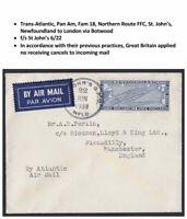 Transatlantic Canada First Flight Cover Newfoundland to London via Pan Am 1939