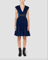 Derek Lam 10 Crosby $595 Blue Velvet Sleeveless Fit and Flare Dress Sz 6