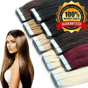 """CLEARANCE Tape in 100% Remy Human Hair Extensions Full Head Skin Weft 10-24"""" ooo"""