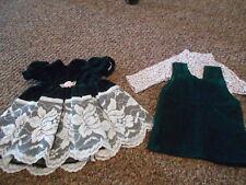 """18"""" Doll Handmade Retired Doll Green Velvet Dress/Cord Jumper&Printed Tee"""