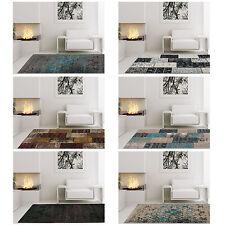 Teppich Hochwertig Wohnzimmer Kaiman Handgefertigt Vintage Patchwork Blau Beige