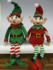 x2 CHRISTMAS PIXIE ELF Shelf Sitter Felt Cloth DOLL Green & Red Holiday Elve