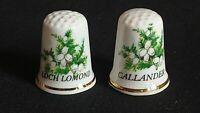 CALLANDER AND LOCH LOMOND SCOTLAND FLORAL FINE BONE CHINA SOUVENIR THIMBLE
