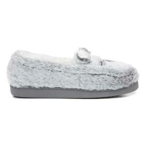 The Slipper Company Womens Grey Bear Moccasin Slippers with Flat Sole