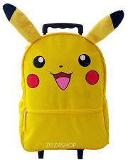 "Pikachu 16"" Large School Roller Backpack Boy Rolling Pokemon Roller Backpack NEW"