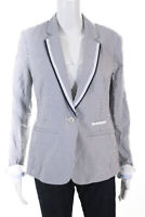 Ecru Womens Striped Notched Collar Single Breasted Blazer White Size M