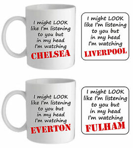 In my head I'm watching personalised any football team mug mens fun gift for him