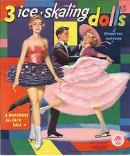 VINTGE 1956 3 ICE SKATING PAPER DOLL HD LASER REPRO~LO PRICE~HI QUAL~TOP SELLR