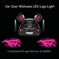 2x Pink Flaming Horse Logo Car Door Projector Shadow LED Light for Ford Mustang
