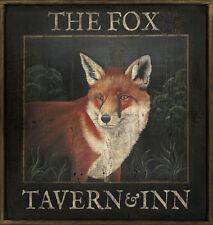 "Antique Look Repro of Original Art - English Pub Sign ""The Fox Tavern & Inn"""