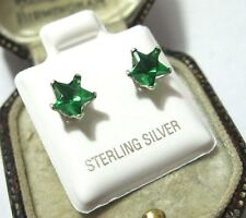 Beautiful Solid Sterling Silver Emerald Green Crystal STAR 6mm Stud EARRINGS NEW