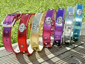 Dog Collars PU Leather Puppy Pink Cute Gold Small Medium Diamante Crown Girl UK