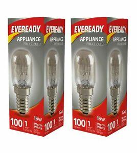 2X Eveready 220-240V 15w Fridge Freezer Appliance Bulb E14 Cooker Hood Pygmy