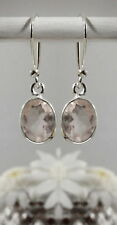 315C Rose Quartz faceted gemstone solid 925 sterling silver earrings rrp$39.95