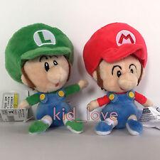 "2X New Super Mario Plush Soft Toy Doll Baby Mario Luigi Stuffed Animal Teddy 6"""