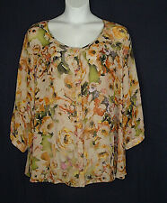 """Cato Caged Back Semi-Sheer Earthtone Floral Spring Top Plus Size 3X Bust 58"""""""
