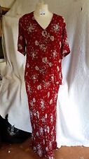 Adini Georgette Red & Floral Lined Scoop Neck Strappy Dress & Blouse Top Sz S/M