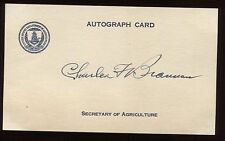 Charles Brannan Signed Card Autographed Secretary of Agriculture for Truman 1948