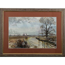 Traditional Rural Agricultural Norfolk Winter Landscape Watercolour Painting