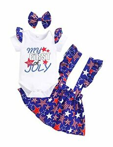 Newborn Baby Girl 4th of July Clothes My First Fourth 0-3 Months Oyster White