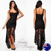 BLACK LACE FISHTAIL MAXI DRESS Bodycon Evening Sexy Long Party Gown Sz 14-16