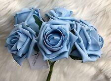 6 Luce Blu Poly Schiuma qualità Rose 7cm HEAD Nozze Fiori, Decorazioni Tavola