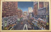 Times Square at Night - 1940s Linen New York City Postcard - NY