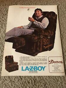 Vintage 1973 LA-Z-BOY JOE NAMATH Poster Print Ad 1970s NEW YORK JETS RARE