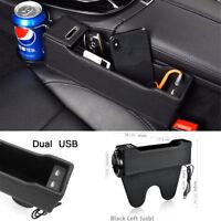 Microfiber Leather Car Organizer Seat Storage Bag USB Phone Charge Cup Holder
