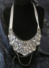 Wonderful panel style necklace with material set with white stones & ribbons tie