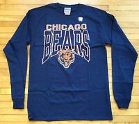 NWT NFL Junk Food Chicago Bears Men's Size S Field Goal LS T-Shirt Navy Blue