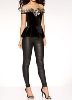 £26 QUIZ Black Gold Bardot Velvet Lace Peplum Party Evening Top 8 10 12 14 16 18