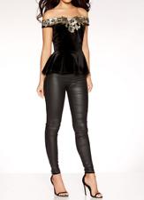 £26 QUIZ Black Gold Bardot Velvet Lace Peplum Party Evening Top 8 10 12 14 16 18
