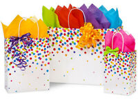 RAINBOW CONFETTI Design Party Gift Paper Bag ONLY Choose Size & Pack Amount