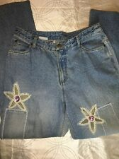 Jeanology Jeans Women's Size 14 Floral Straight Fit Light Wash Embroidered