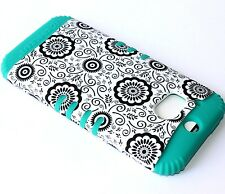 For HTC ONE M8 - HARD&SOFT RUBBER HYBRID SKIN CASE TURQUOISE GREEN BLACK FLOWERS