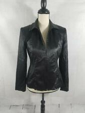VTG Cache Womens XS 2 Black Zip Up Faux Leather Jacket Bomber Motorcycle Coat