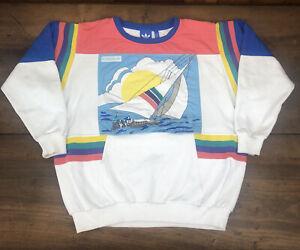 Vintage Adidas Sailing Boat Pullover Sweatshirt Multicolored Large RARE Reprint