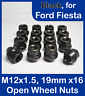 16 x Open Alloy Wheel Nuts for Ford Fiesta M12 x 1.5, 19mm Hex (Black)