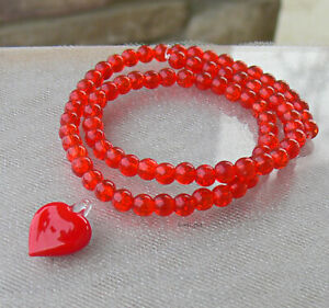 Red Heart Lampwork and Crackle Glass Beads Focal Heart