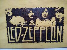 Led Zeppelin Burnt Wood Hanging Wall Art