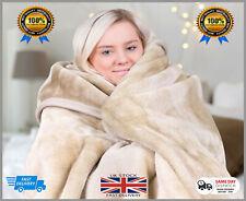 Luxury Mink Faux Fur Throws, Plain Fleece Super Soft Blanket All Colours/Sizes