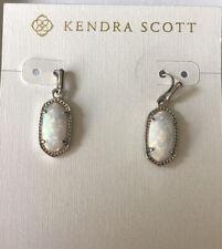 New Kendra Scott Lee White Kyocera Opal Small Drop Earrings Silver Tone