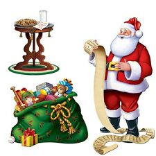 4ft SANTA CLAUS AND PRESENT LIST CHRISTMAS SCENE SETTER ADD ONS WALL DECOR PROPS
