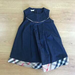 Burberry Children Kids Girls Navy Blue Nova Check Smart Formal Dress Age 3-4