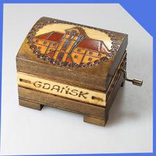 old vintage Poland Gdansk Wooden Mechanical Music Box Mini Chest Case Casket