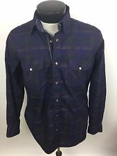 Bugatchi Mens Dress Shirt Shaped Fit Small Plum Pearl Snap Buttons